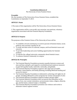Constitution (Bylaws) of The University of Iowa Feminist Union