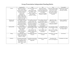 Group Presentation Independent Reading Rubric