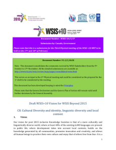 Document Number : WSIS+10/3/57 Submission by: Canada