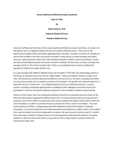 House Healthcare Efficiencies Study Committee Sept 22, 2015 By