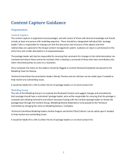 Content Capture Guidance