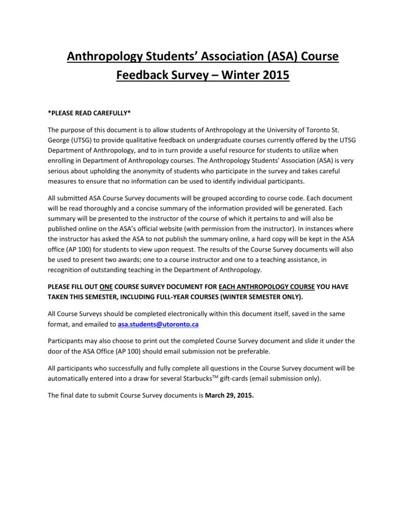 Course Feedback Survey – Winter 2015