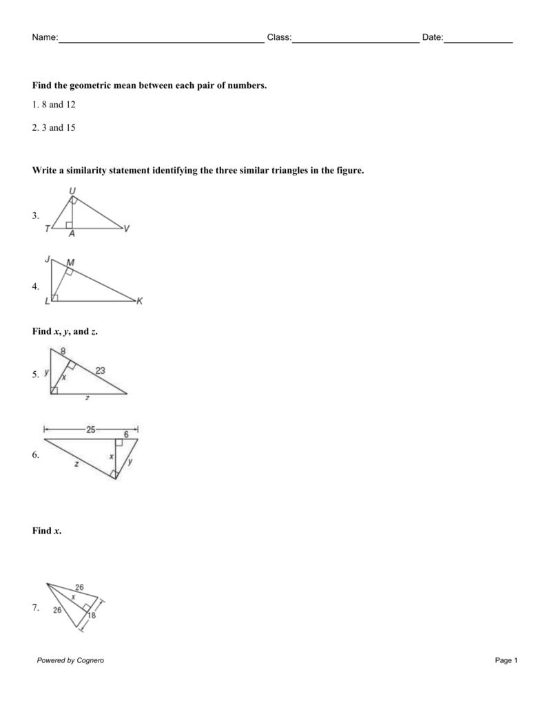 8-1 Geometric Mean (Practice)