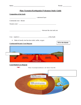 Plate Tectonics/Earthquakes/Volcanoes Study Guide