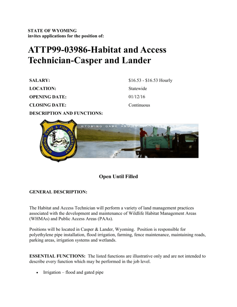 Habitat & Access Technicians