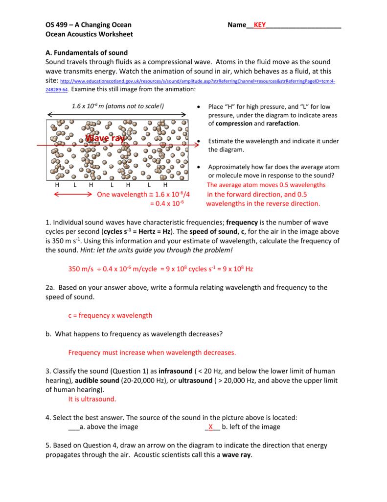 Ocean Acoustics Worksheet Key