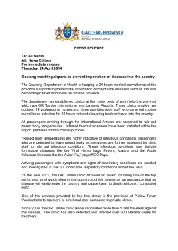 press release - gauteng watching airports to prevent importations of