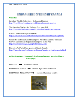 SNC 1D Endangered Species of Canada