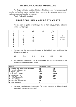 the english alphabet and spelling