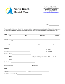 New Patient Forms - North Beach Dental Care