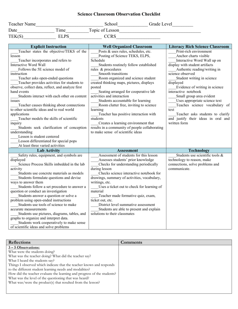 teacher observation checklists
