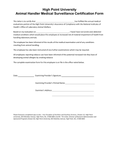 Animal Handler Medical Surveillance Certification Form
