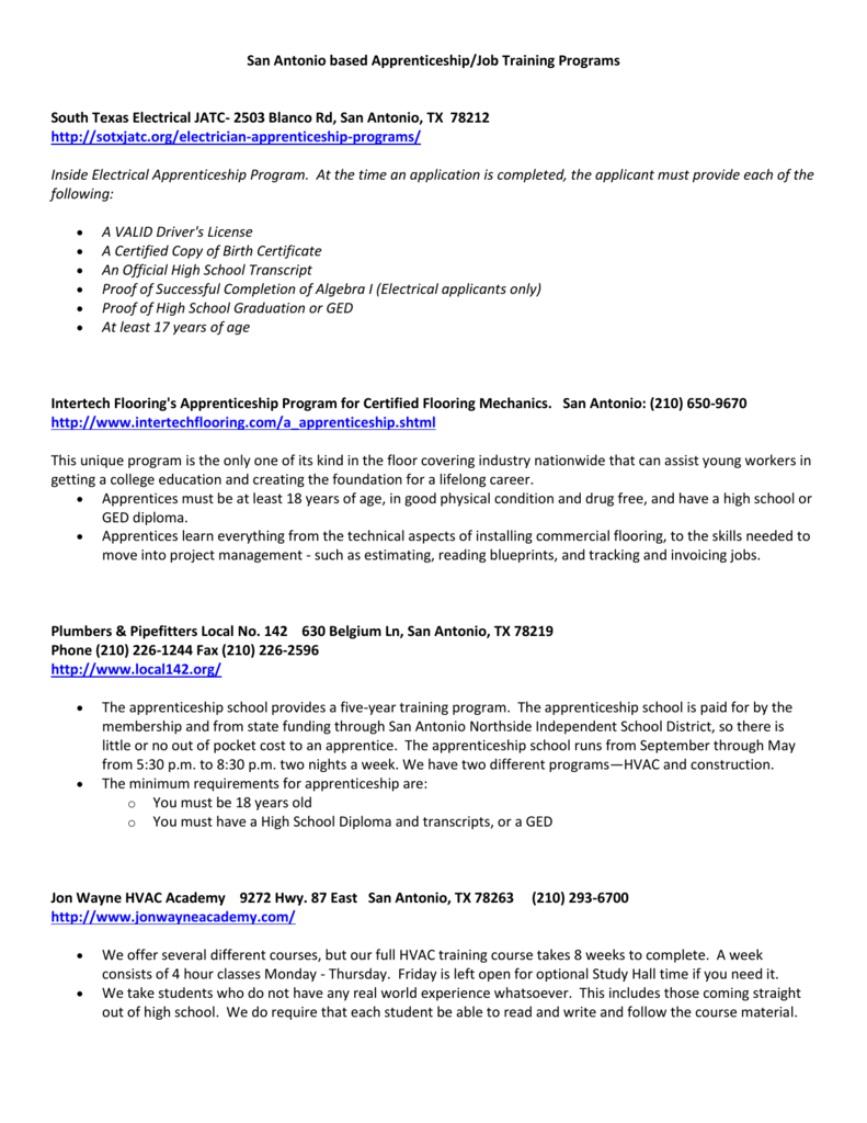 San Antonio Based Apprenticeshipjob Training Programs South