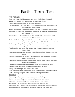 Earth`s Terms Test PLATE TECTONICS Crust – the thin and solid