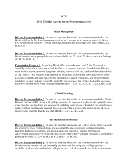 District Accreditation Recommendations 2015
