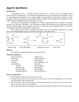 Organic synthesis preparation analysis of aspirin