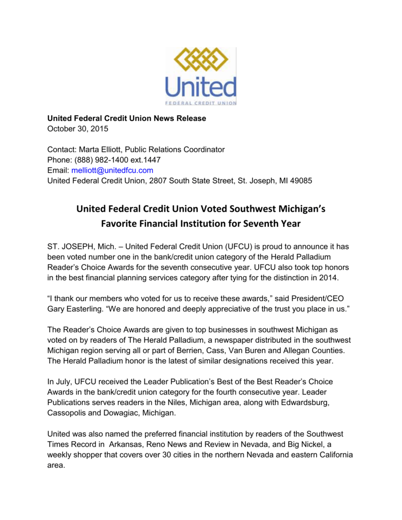 United Federal Credit Union Voted Southwest Michigan`s Favorite