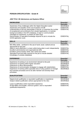 PERSON SPECIFICATION – Grade III JOB TITLE: HE Admissions