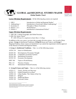 GRS Global Studies Check List - Saint Mary`s College of California