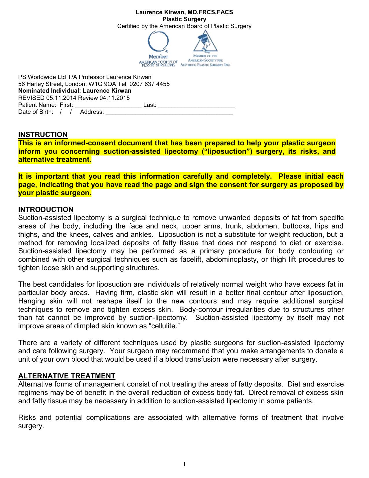UK Liposuction Informed Consent Form