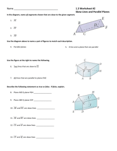 1.3 Worksheet #2 Skew Lines and Parallel Planes