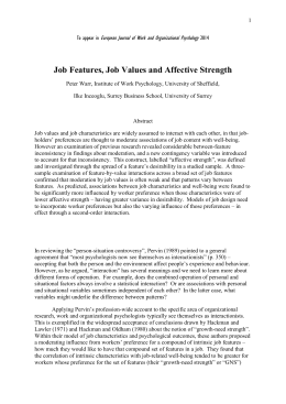 Job features, job values and affective strength. European Journal of
