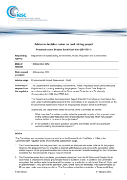 Drayton South Coal Mine Project Advice (DOCX
