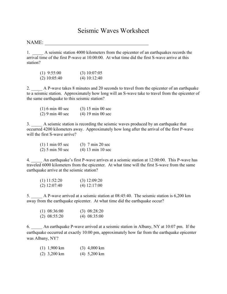 Uncategorized Earthquake P-wave And S-wave Travel Time Worksheet earthquake p wave and s travel time worksheet termolak review of seismic waves file
