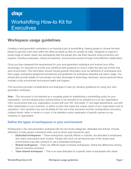 Workspace Usage Guidelines (example)