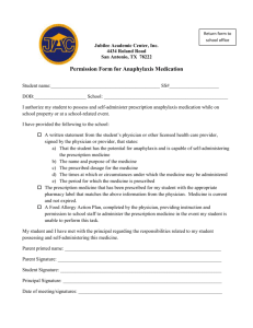 Permission form for Anaphylaxis Medication
