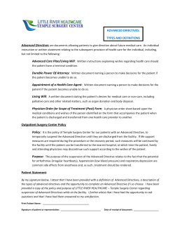 Advanced Directives Form - Little River Healthcare