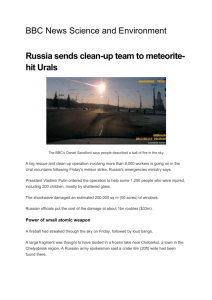 Russia sends clean-up team to Meteorite hit Urals