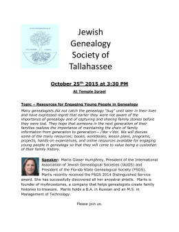 Genealogy Society meeting 10-25-2015