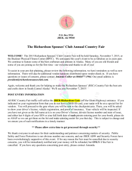 2015 Country Fair Letter to Vendors