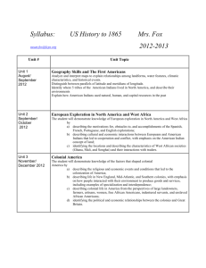 Syllabus: US History to 1865 Mrs. Fox