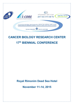 Scientific Program - Cancer Biology Research Center