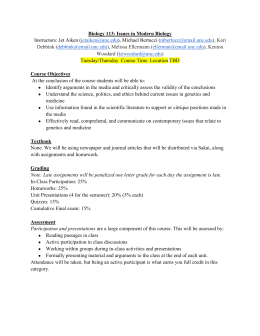 Biology 113 Fall 2013 Syllabus