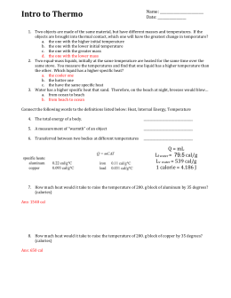 Worksheet - Intro to Therm ANS