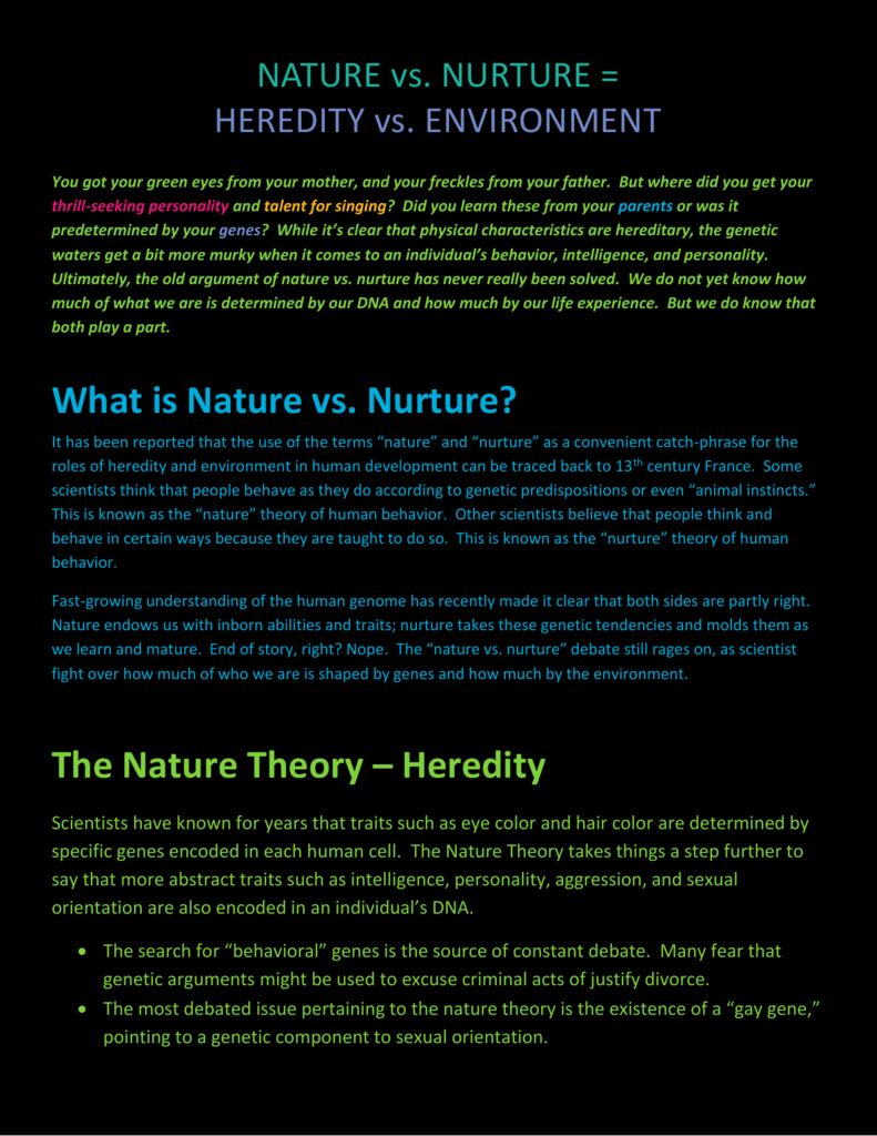 nature and nurture theory