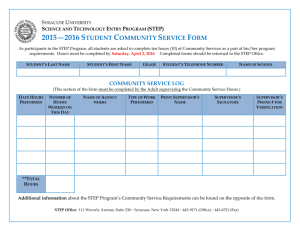 Student Volunteer Form 2015-2016 - STEP