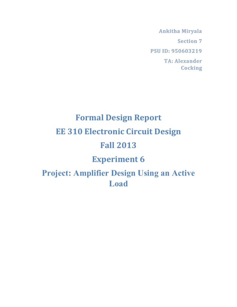 Ankitha Miryala 310 Lab6 Electronic Load Circuit Design