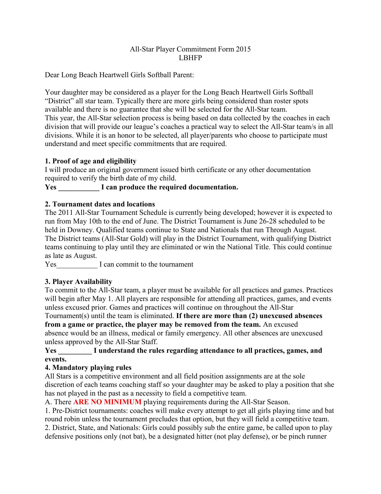 All Star Player Commitment Form 2015 Lbhfp Dear Long Beach