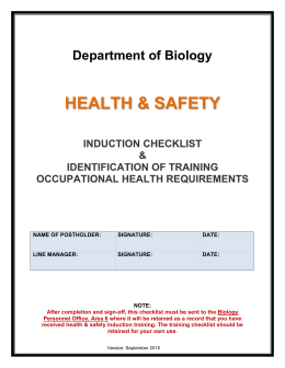 Staff (and visitors) H&S induction checklist