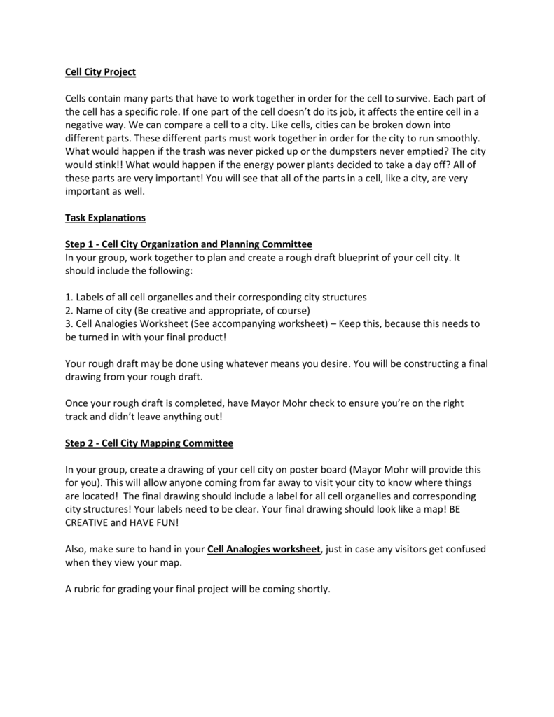 Cell City Project Outline – Cell City Analogy Worksheet