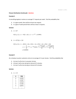 October 5, 2011 Poisson Distribution (Continued)