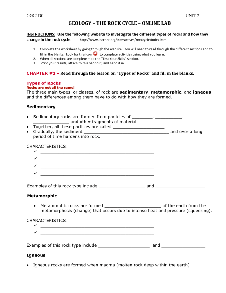 Worksheets Types Of Rocks Worksheet rock cycle online lab worksheet