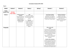 Year 6 Contexts for Learning 2015 16
