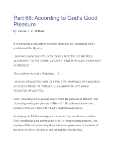 Part 68 - According to God`s Good Pleasure