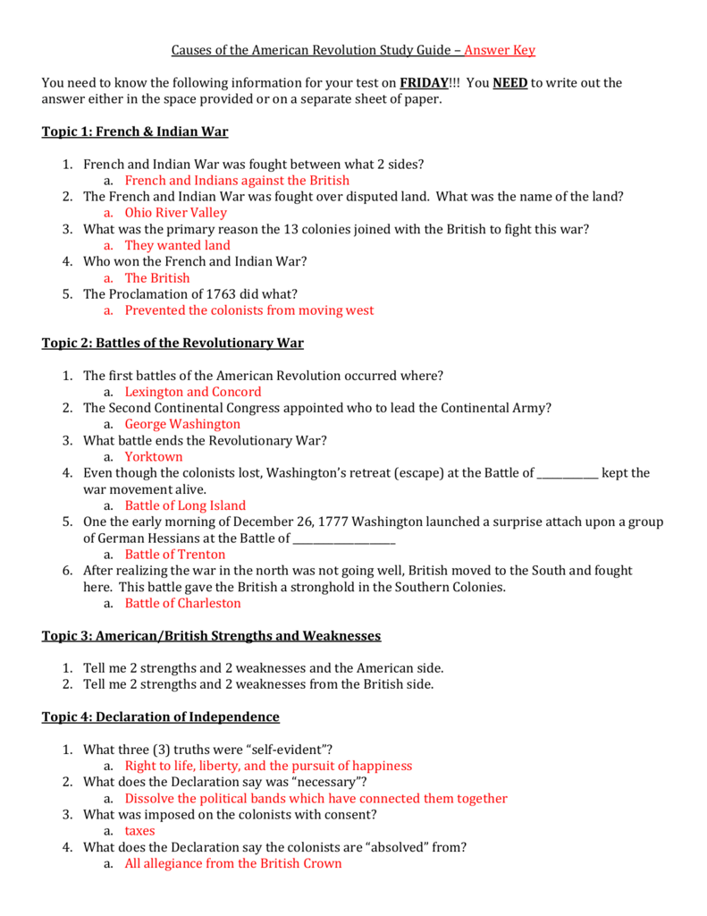 Causes Of The American Revolution Study Guide Answer Key You