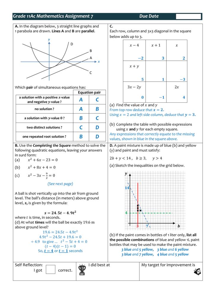 Grade 11Ac Mathematics Assignment 7 Due Date